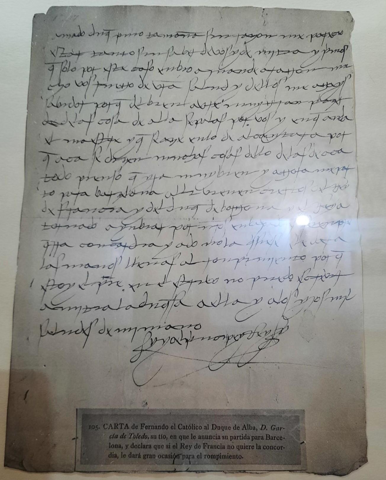 Escritura del rey Fernando VII